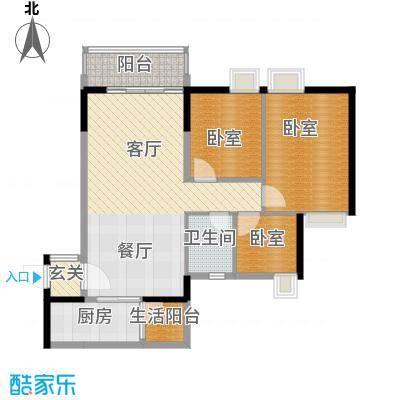 天马河壹号91.96㎡A3栋三层至十八层06户型3室2厅1卫