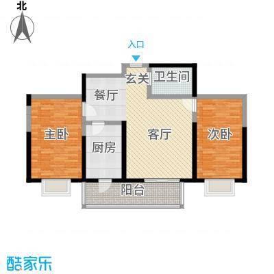 虹畔馨苑8号楼1门02单元G标准层二室一厅户型