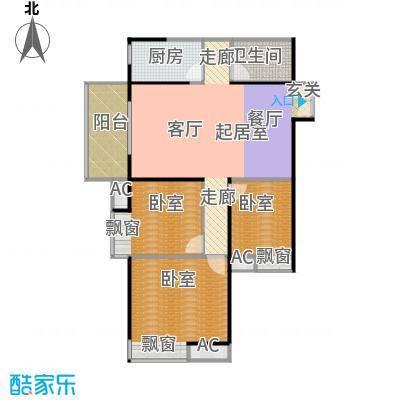 新兴骏景园三期天第103.05㎡B-02 东、南向组成围合式通透,4.2米主卧开间,主卧南向飘窗设置户型3室2厅1卫