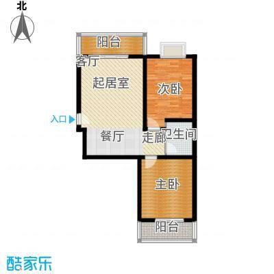 灞柳良居82.09㎡H户型 2室2厅1卫 82.09平米户型