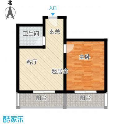 灞柳良居54.81㎡g户型 1室1厅1卫 54.81平米户型