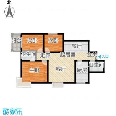 百花紫荆名座120.09㎡C、D座B户型 三室两厅两卫户型