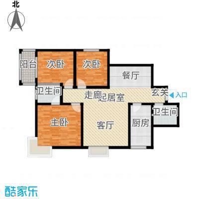百花紫荆名座户型3室2卫1厨