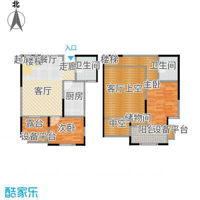 财信圣堤亚纳90.26㎡C2复式户型2室2厅2卫户型2室2厅2卫