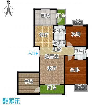 东岭欣城124.75㎡G-1户型3室2厅2卫户型3室2厅2卫