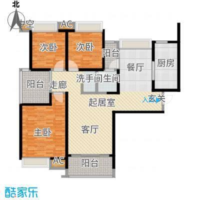 中建开元壹号129.00㎡高层E1户型三室二厅一卫CC