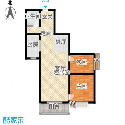 林河春天107.19㎡B3户型2室2厅1卫户型2室2厅1卫