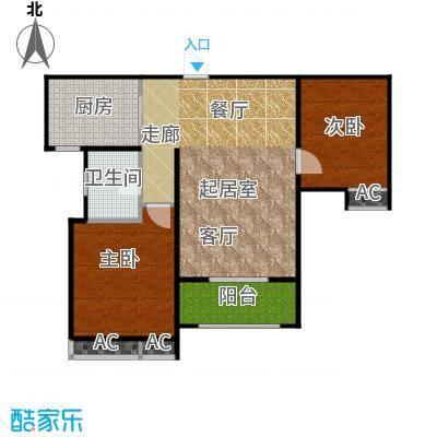 东岭欣城88.33㎡E-3户型2室2厅1卫户型2室2厅1卫
