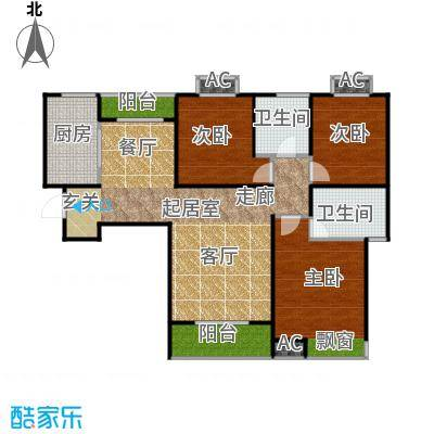 东岭欣城115.20㎡A2-2户型 3室2厅2卫1厨户型