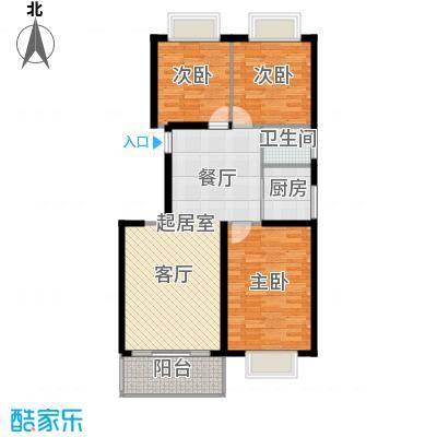 新贵华城三期101.00㎡三室两厅一卫户型