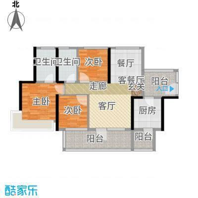 潜龙曼海宁(南区)3栋3-B3阳台8671-户型3室1厅2卫1厨