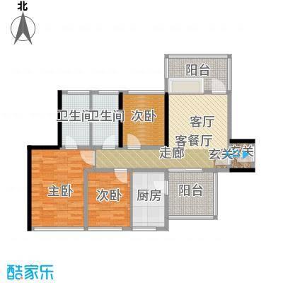 潜龙曼海宁(南区)4栋4-A2阳台户型3室1厅2卫1厨
