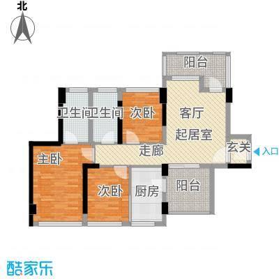 潜龙曼海宁88.85㎡(南区)4栋4-B2阳台户型3室2卫1厨