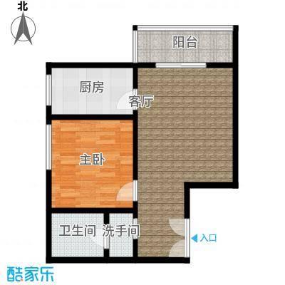 尚东国际城59.38㎡在售一室两厅一卫户型