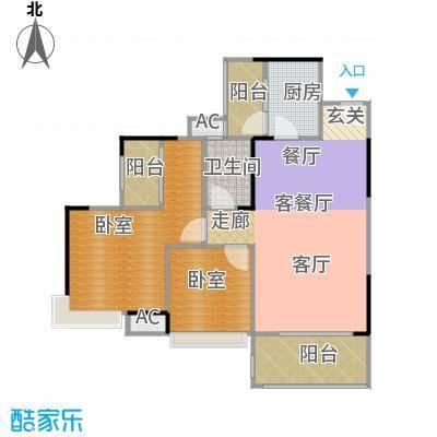 远洋启宸88.00㎡11栋04单位88平米二房户型图户型2室2厅2卫