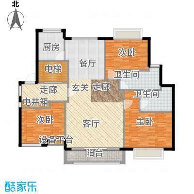 环球翡翠湾花园130.69㎡房型: 三房; 面积段: 130.69 -132.6 平方米; 户型