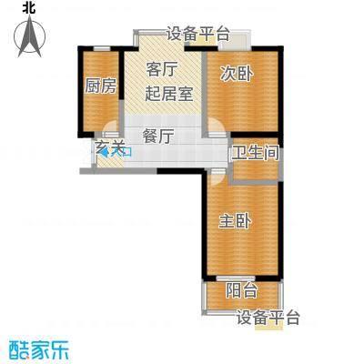 爱菊佳园101.02㎡两室两厅一卫户型2室2厅1卫