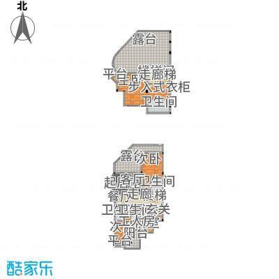 城市经典花园夏宫258.59㎡D1户型一、二层户型3室2厅3卫