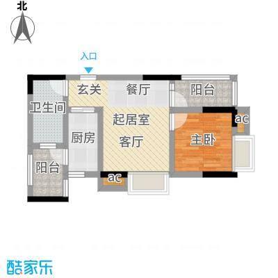 丽景名筑52.39㎡15座06房52.39平米一房一厅一卫户型1室1厅1卫