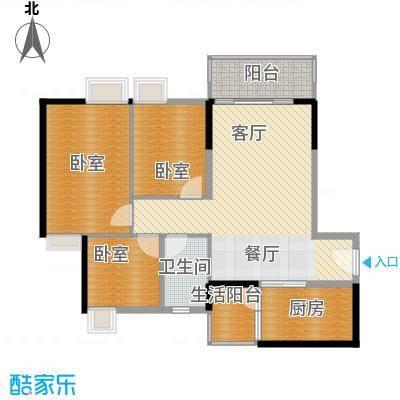天马河壹号91.82㎡A1栋二至十八层03户型3室2厅1卫