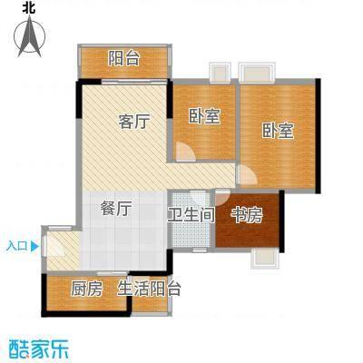 天马河壹号92.78㎡A1栋二至十八层05户型3室2厅1卫