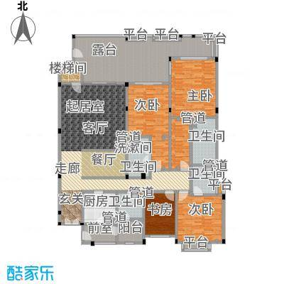 城市经典花园夏宫230.00㎡B2户型2室2厅3卫