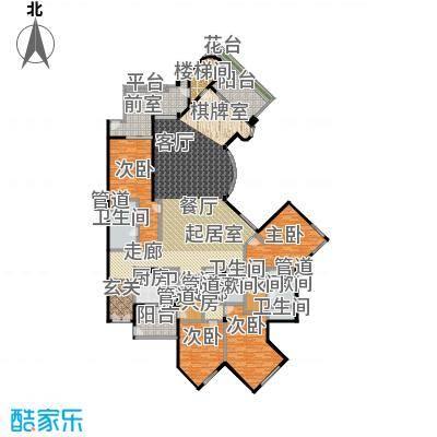 城市经典花园夏宫四房两厅四卫-340.18平方米户型