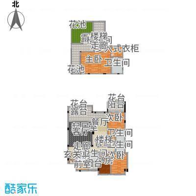 城市经典花园夏宫319.39㎡D2户型上、下层户型3室2厅4卫