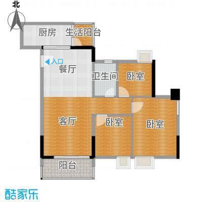 天马河壹号92.33㎡A3栋三层至十八层01户型3室2厅1卫