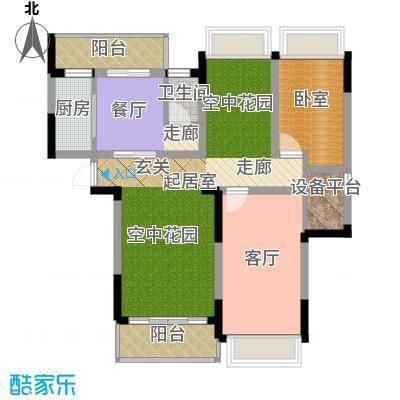 中岛明珠一房85平米户型