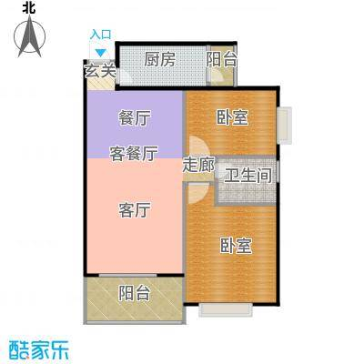 曦城92.18㎡B2户型2室2厅1卫户型2室2厅1卫
