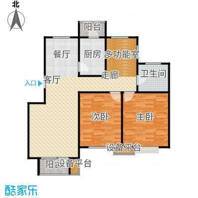 芒果郡86.00㎡两室三厅一卫-102.01平米户型