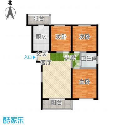 虹畔馨苑8号楼1门03单元H1二层三室一厅户型