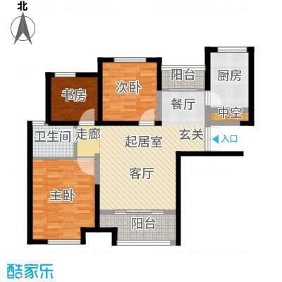 财信圣堤亚纳88.00㎡D3户型三室两厅一卫户型3室2厅1卫