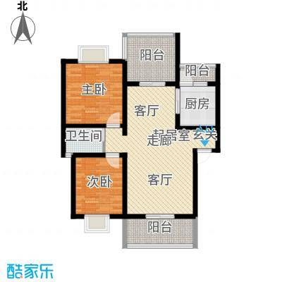 名门外滩89.00㎡E1A型两室两厅单卫三阳台户型