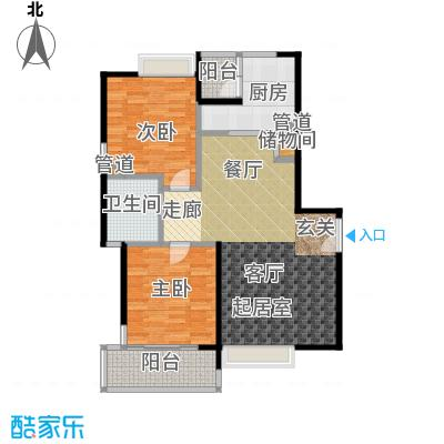 康桥半岛(五期)房型: 二房; 面积段: 100 -110 平方米; 户型