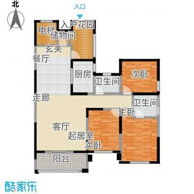 华森丽江豪庭三房两厅两卫加超大入户花园面积约136.21平米户型