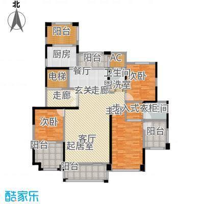 华森丽江豪庭三房两厅两卫加五阳台加独立电梯厅约168.26平米户型