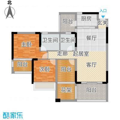 路福江韵华府三房两厅两卫109.05平米户型