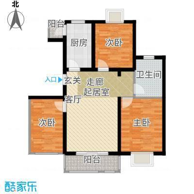 大地12城二期--朗琴园城市公寓三室一厅一卫 A区16 17号楼二-十七层103㎡户型