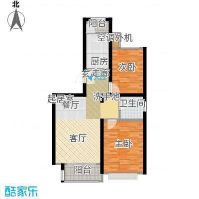 大地12城二期--朗琴园25号楼两室两厅一卫 86.7㎡户型