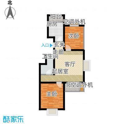 大地12城二期--朗琴园两室两厅一卫 91.22㎡户型