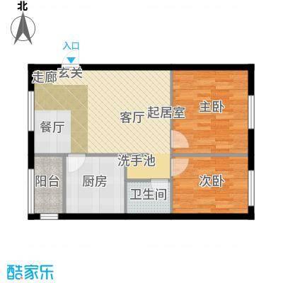 大地12城二期--朗琴园新青年公寓 二室二厅一卫 75.07㎡户型