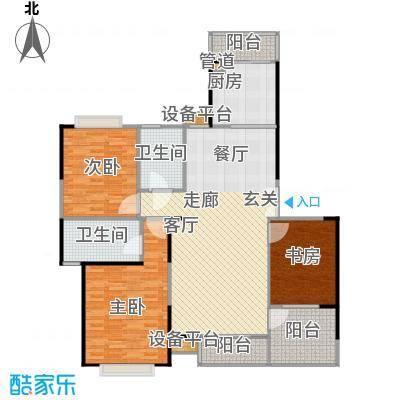 枫林绿洲A9公馆122.90㎡C型结构 3室2厅2卫户型