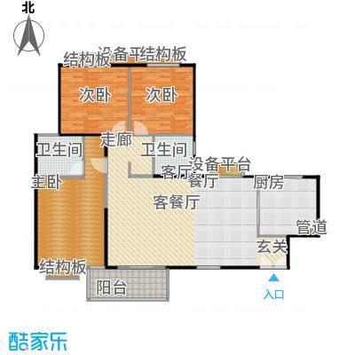 枫林绿洲A9公馆130.92㎡A型结构 3室2厅2卫户型