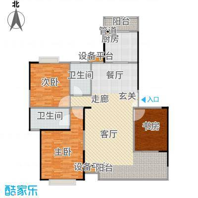 枫林绿洲A9公馆127.23㎡三房二厅一卫户型