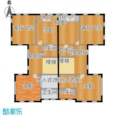 福晟钱隆城224.66㎡21号楼二层平面图扫描户型4室4卫