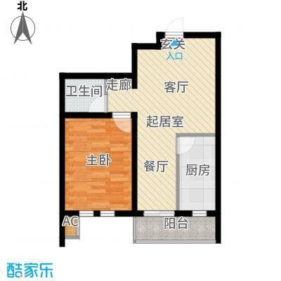 第6城三期1室1厅1卫户型