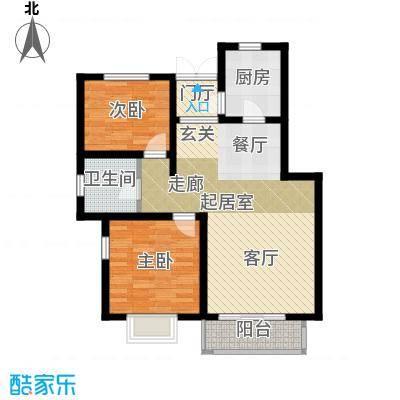 大地12城二期--朗琴园二室二厅一卫 B区18 19号楼首层91㎡;A区6 7 11 12号楼首层91㎡户型