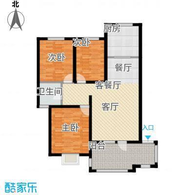 金桥天海湾120.56㎡B户型 三室两厅一卫户型3室2厅1卫